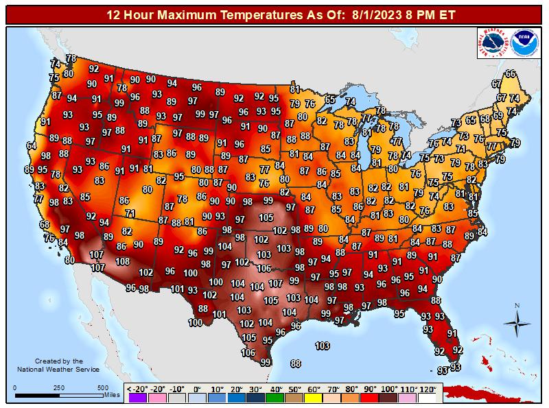 Continental United States 12 Hour Maximum Temperature Ending at 7 pm EST
