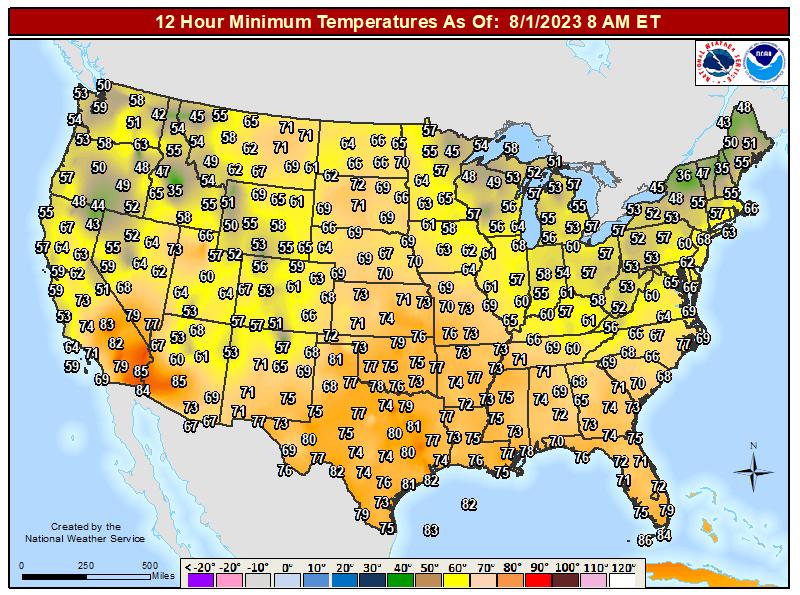 Continental United States 12 Hour Minimum Temperature Ending at 7 am EST