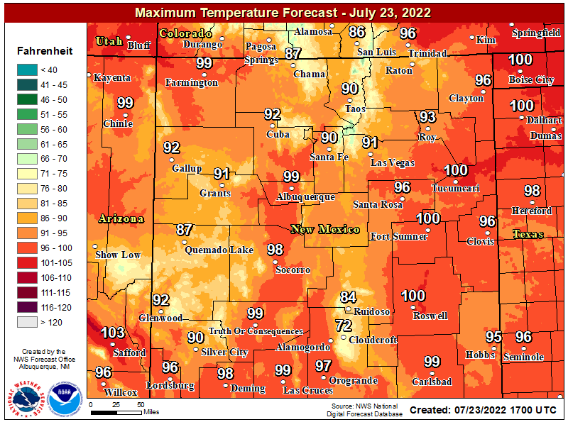 NWS Forecast High Temps Today