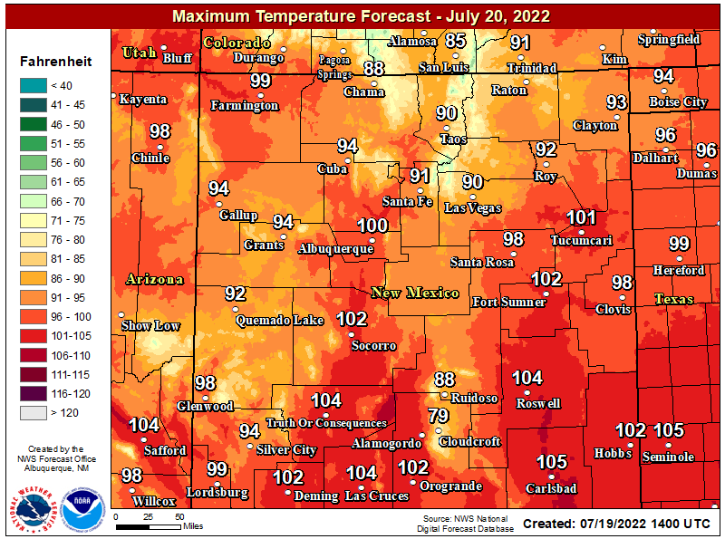 NWS Forecast High Temps Tomorow