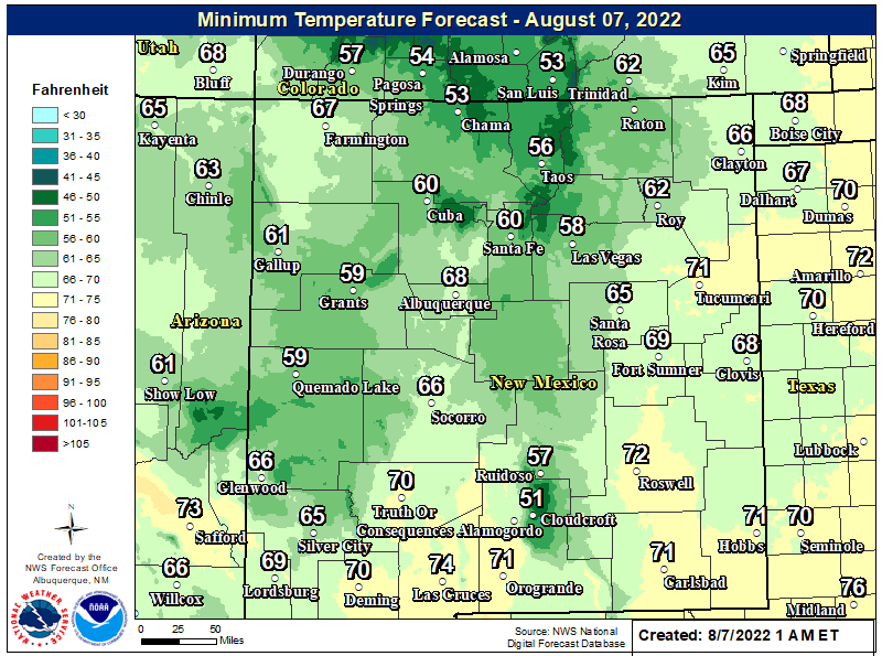 NWS Forecast Low Temps Tonight