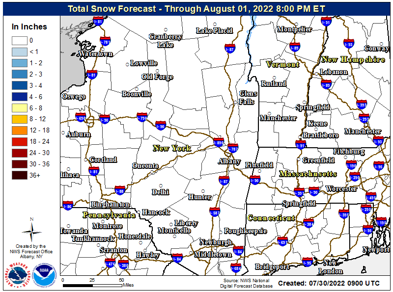 IF IMAGE IS MISSING CLICK HERE Albany Snow Map - Click to enlarge