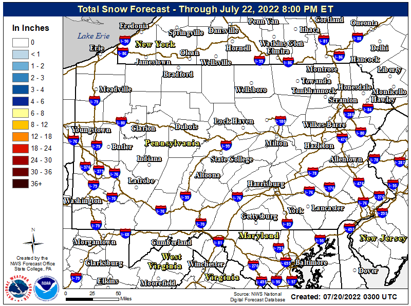 Storm Total Snow Map
