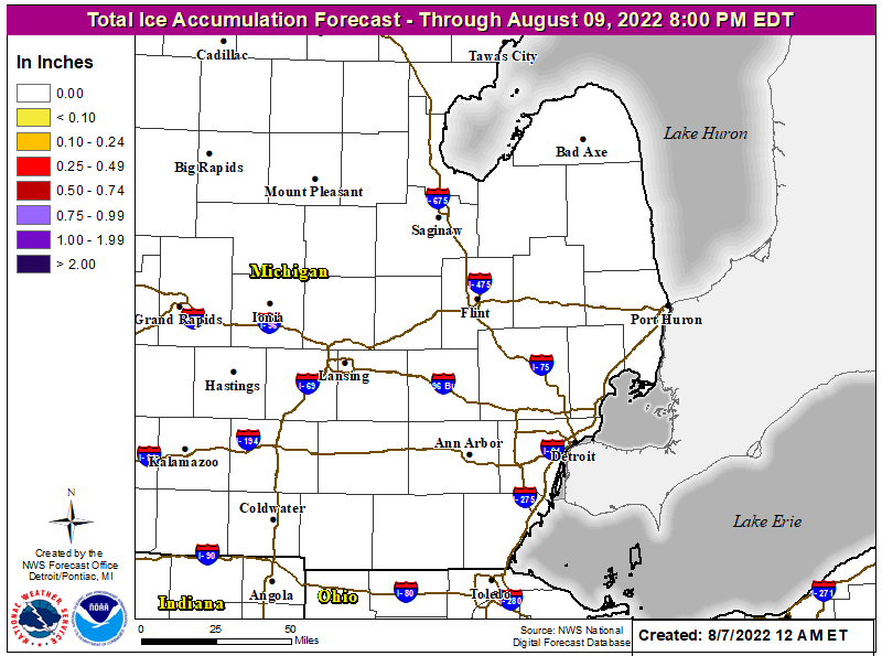 Total 72 hour Forecast Ice Accumulation