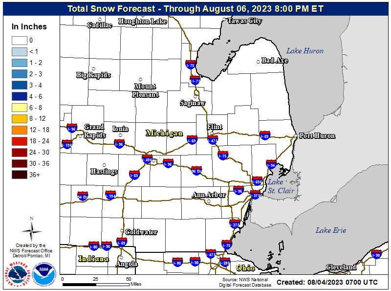 Total 72 hour Forecast Snowfall