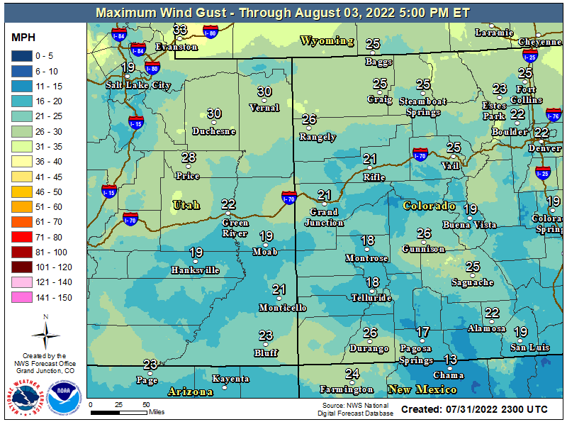 Map of the maximum wind gusts through Monday