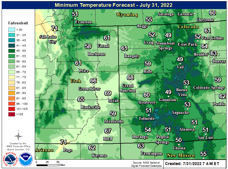 Map of low temperatures tonight