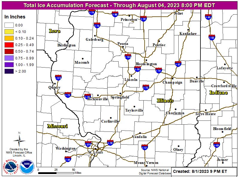 Ice accumulation forecast next 48 hours