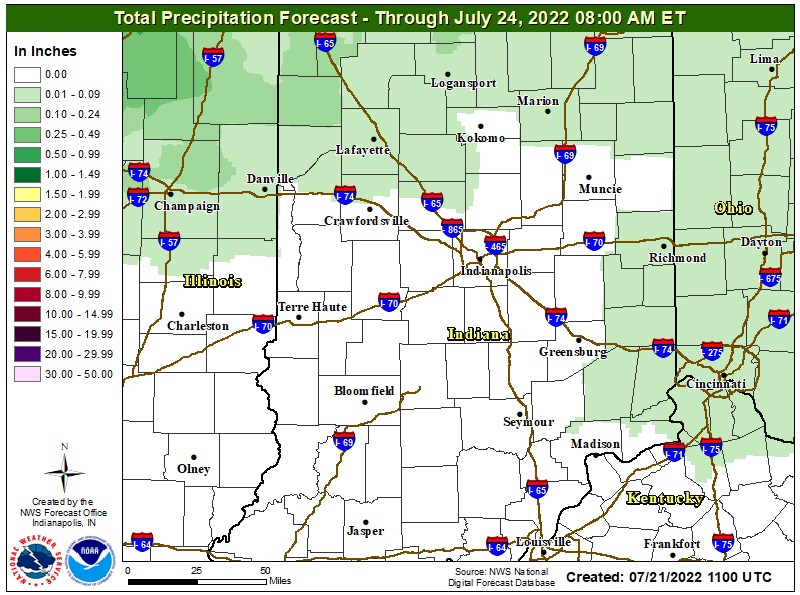 Rainfall Forecast for Central Indiana