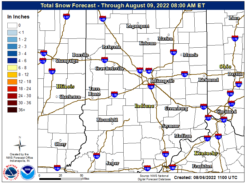 Snow Forecast for Central Indiana