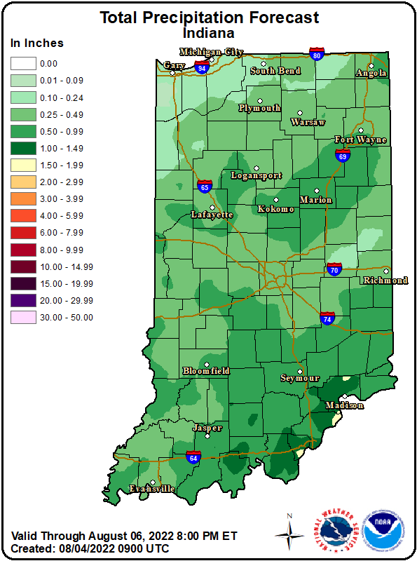 Forecast for State of Indiana