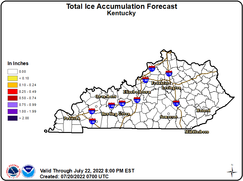 Image of KY Forecast Ice Accumulations over the Next 3 Days