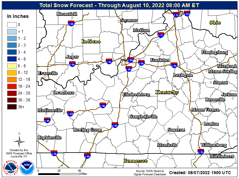 Image of Central KY/Southern IN Forecast Snowfall Amounts for the Next 3 Days