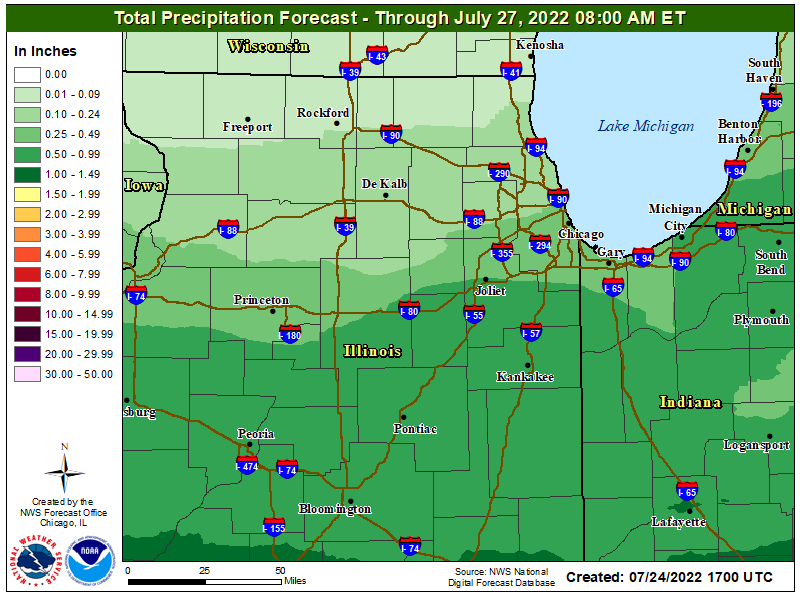 Map showing forecast rainfall for day 1 through day 3