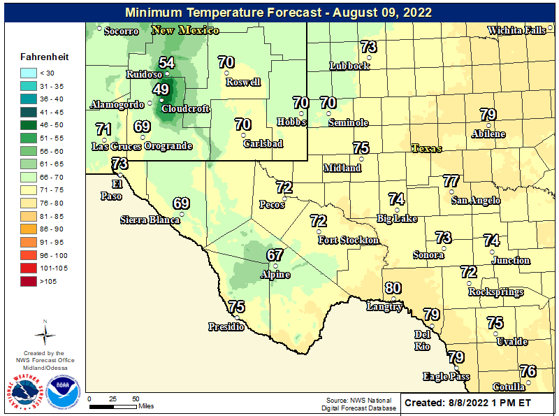 Fcst Low Temps Tonight