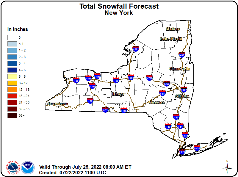 Total Snowfall Forecast - New York