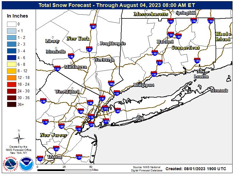Storm snowfall map