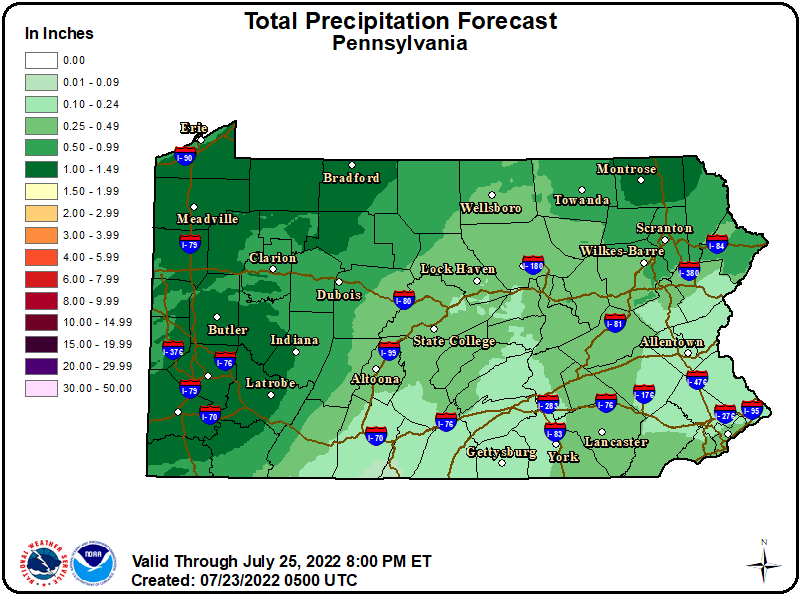 PA State Storm Total Rainfall