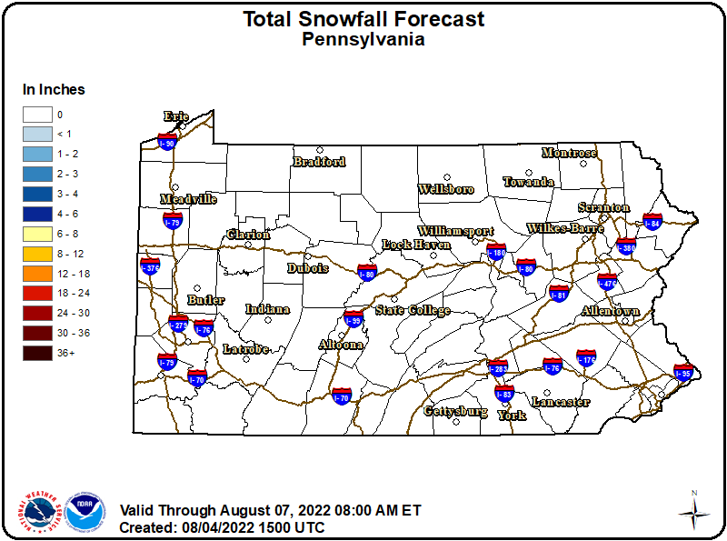 72-hr Snowfall - Pennsylvania