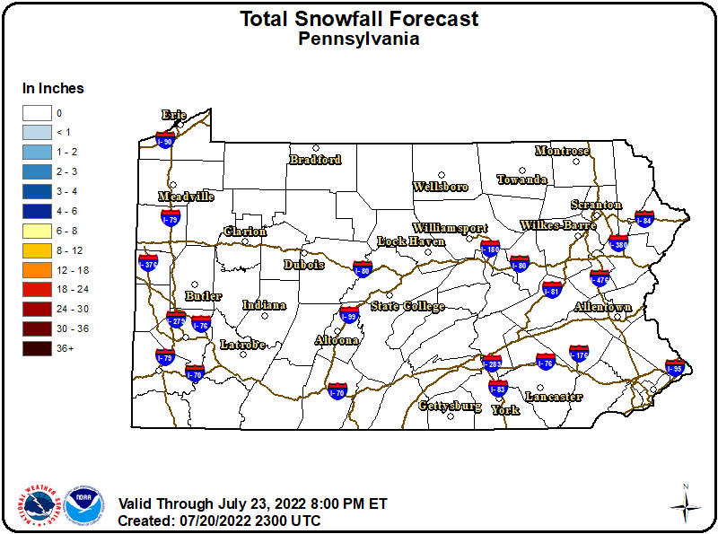 PA State Snowfall