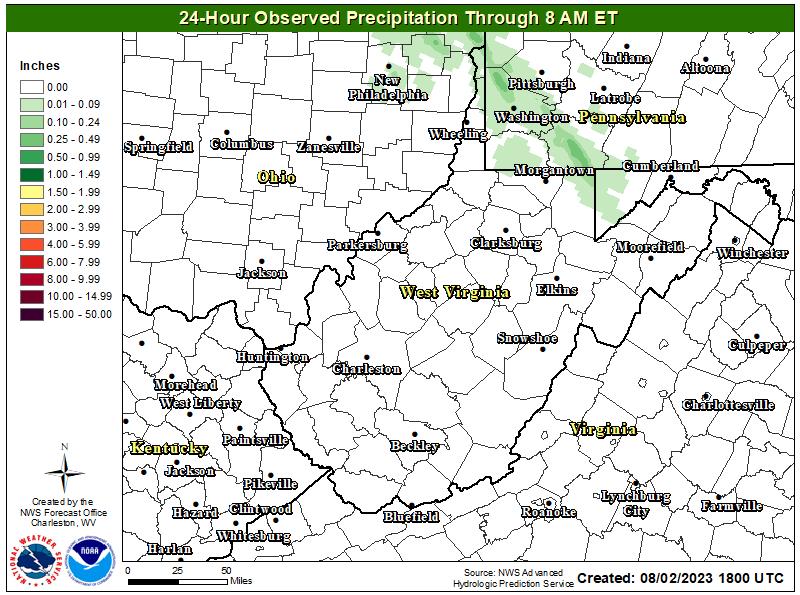 Observed 24 hour precipitation.