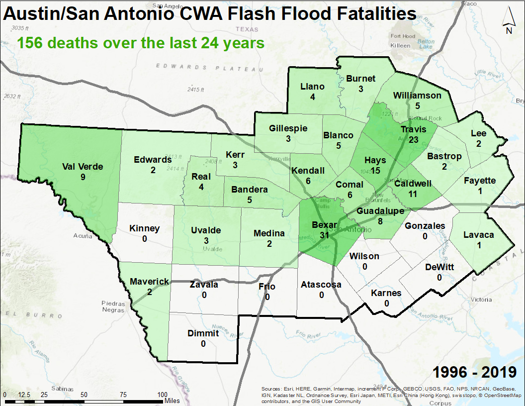 Flash Flood Fatalities within EWX County Warning Area since 1996