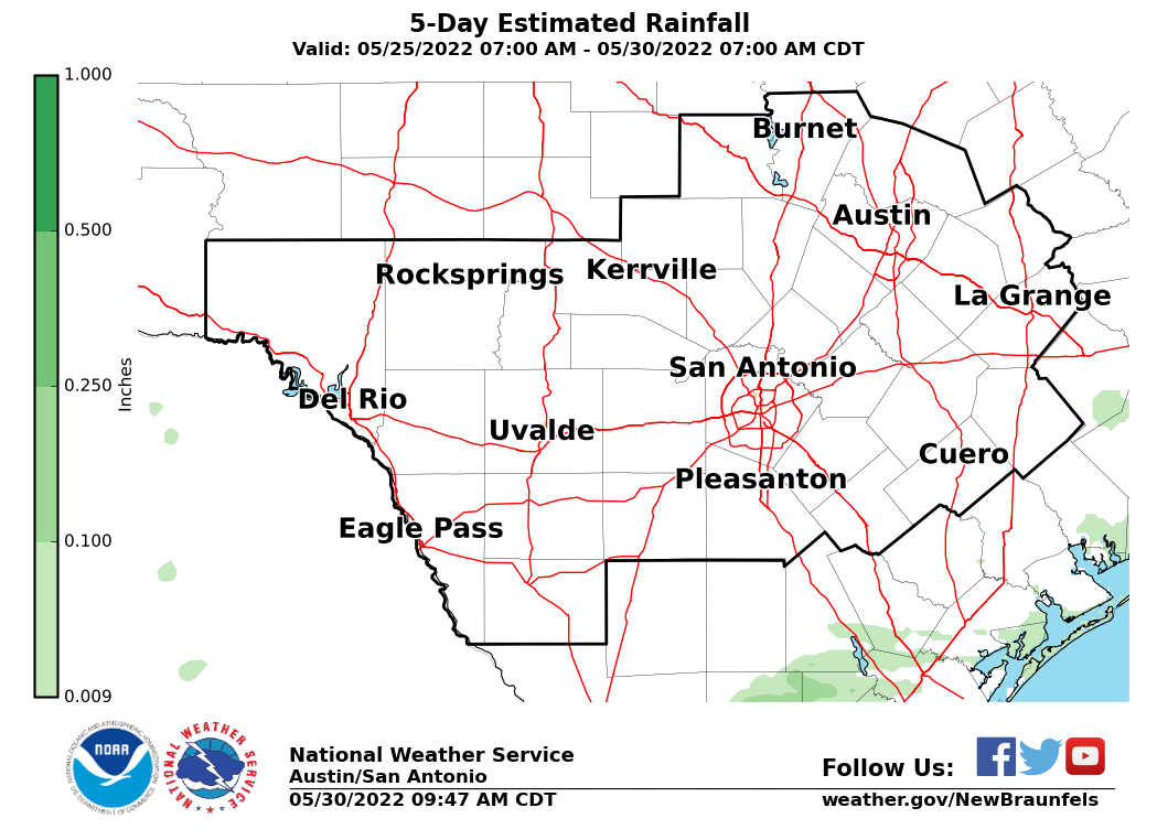 Estimated Rainfall - Last 5 Days