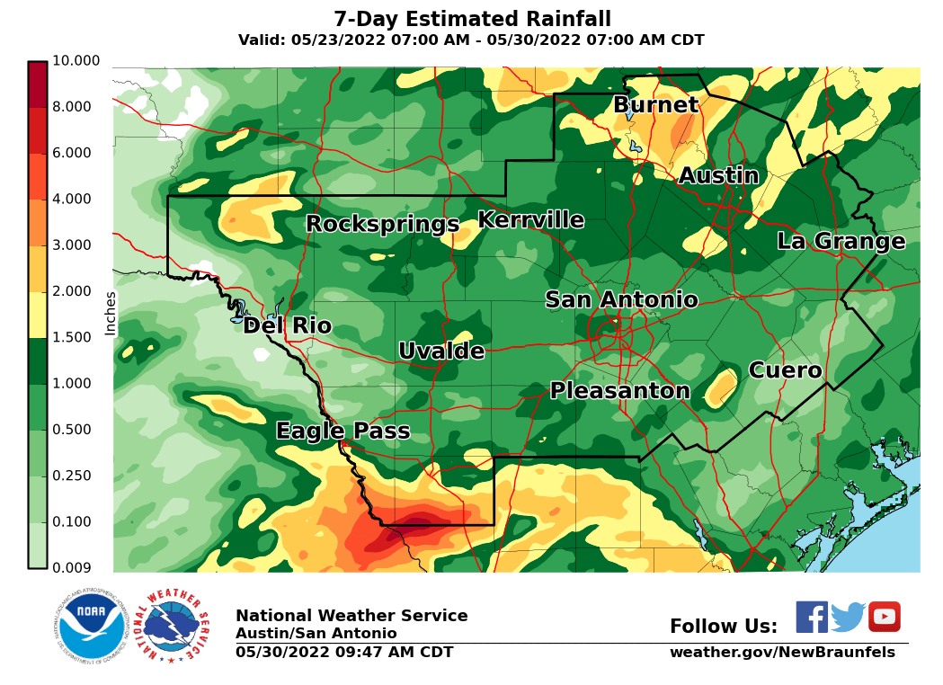Estimated Rainfall - Last 7 Days
