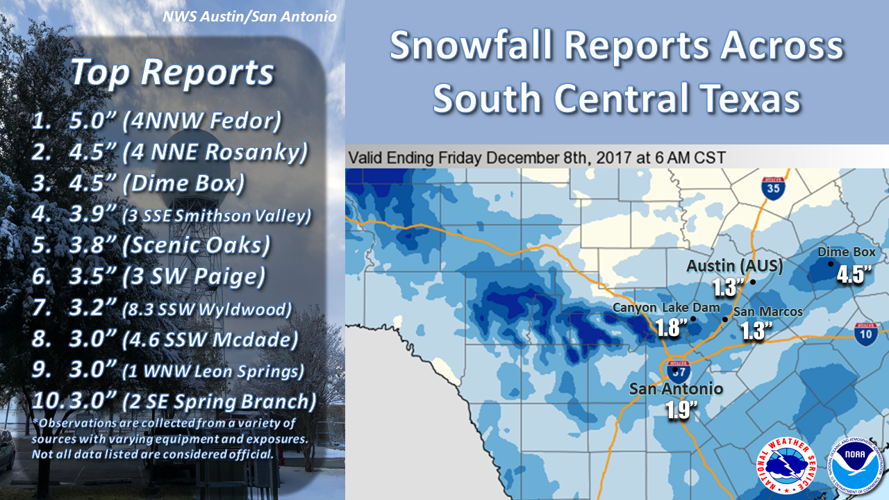 December 2017 snow event public information statement national weather service austinsan antonio tx 1111 am cst fri dec 8 2017 24 hour snowfall amounts publicscrutiny Image collections