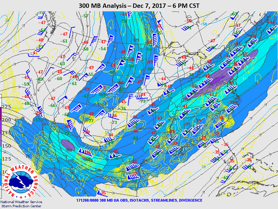 300mb Analysis at 6pm CST on Dec 7th