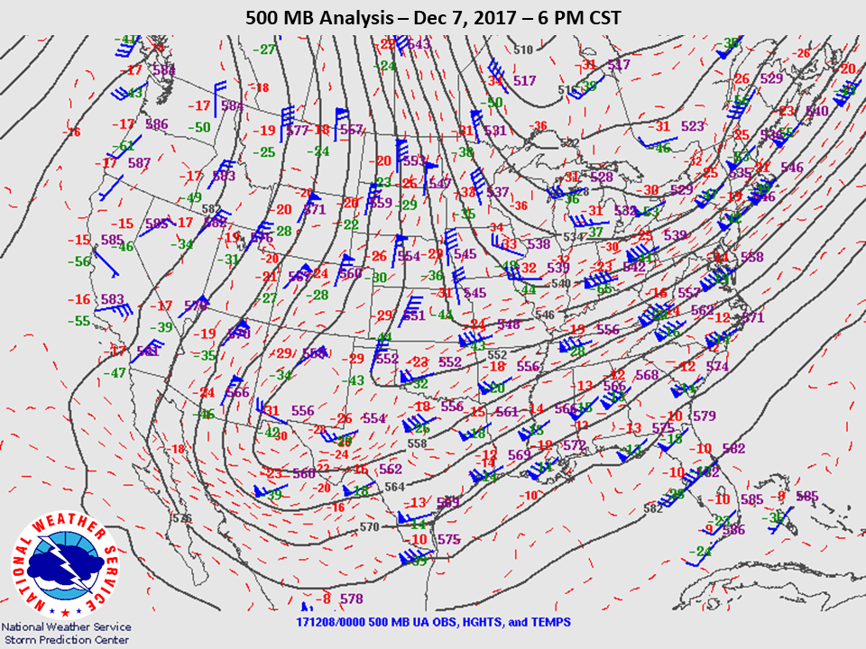 500mb Analysis at 6pm CST on Dec 7th