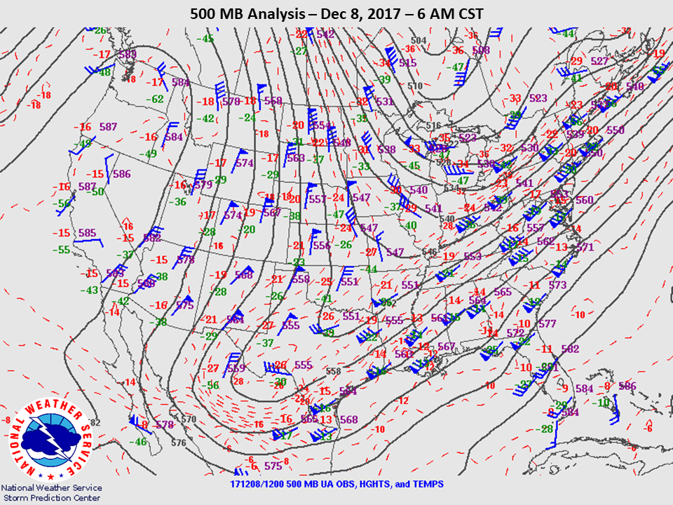 500mb Analysis at 6am CST on Dec 8th