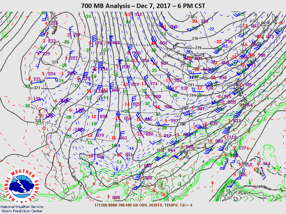 700mb Analysis at 6pm CST on Dec 7th