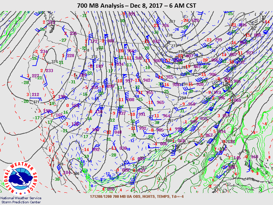 700mb Analysis at 6am CST on Dec 8th