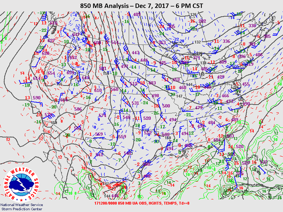850mb Analysis at 6pm CST on Dec 7th