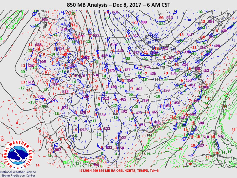 850mb Analysis at 6am CST on Dec 8th