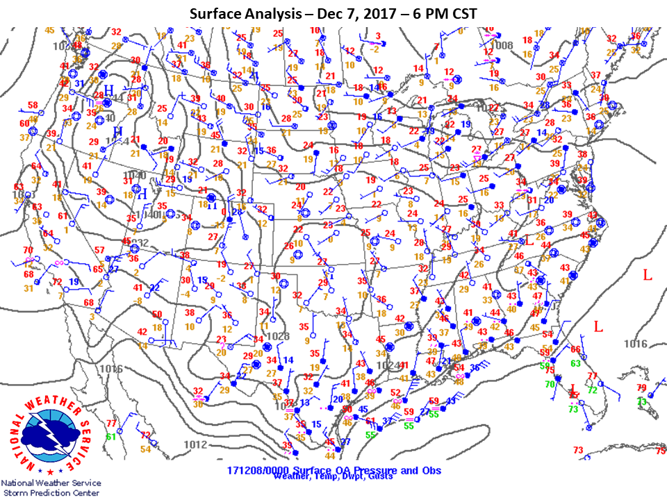 Surface Analysis at 6pm CST on Dec 7th