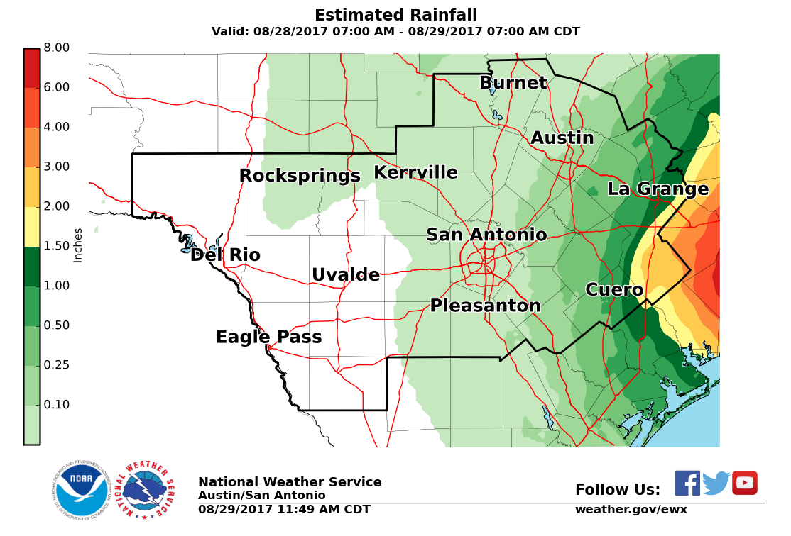 Harvey Estimated Daily Rainfall Ending August 29, 2017