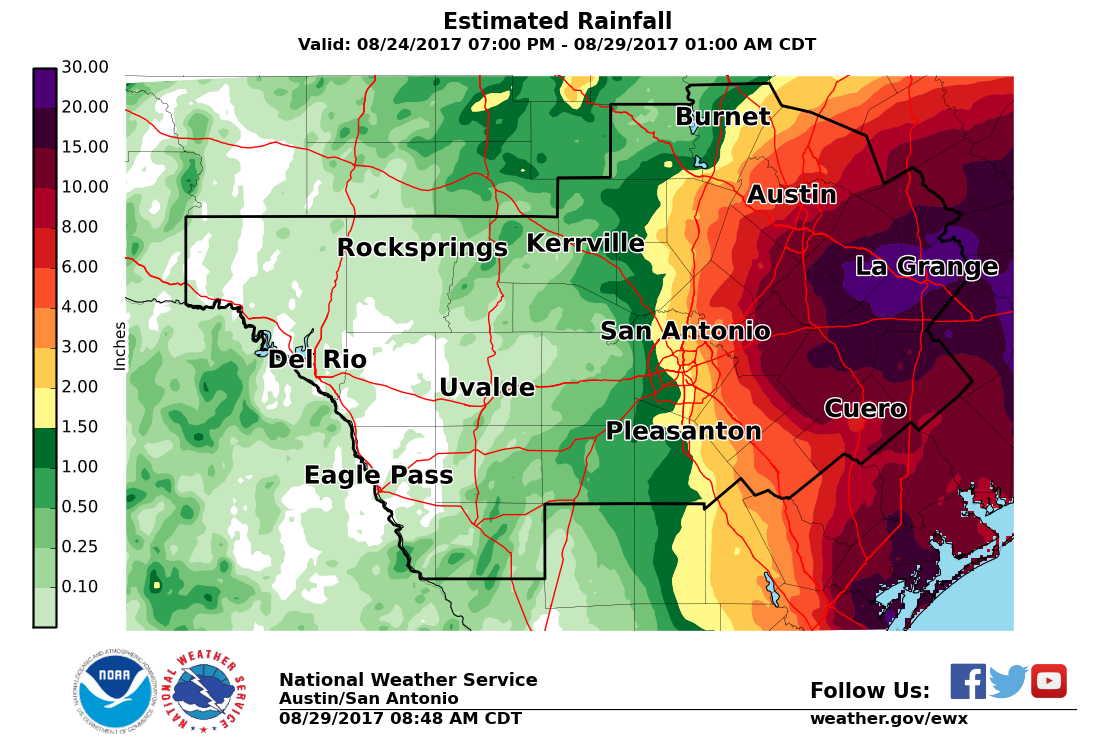 Harvey Estimated Rainfall Total