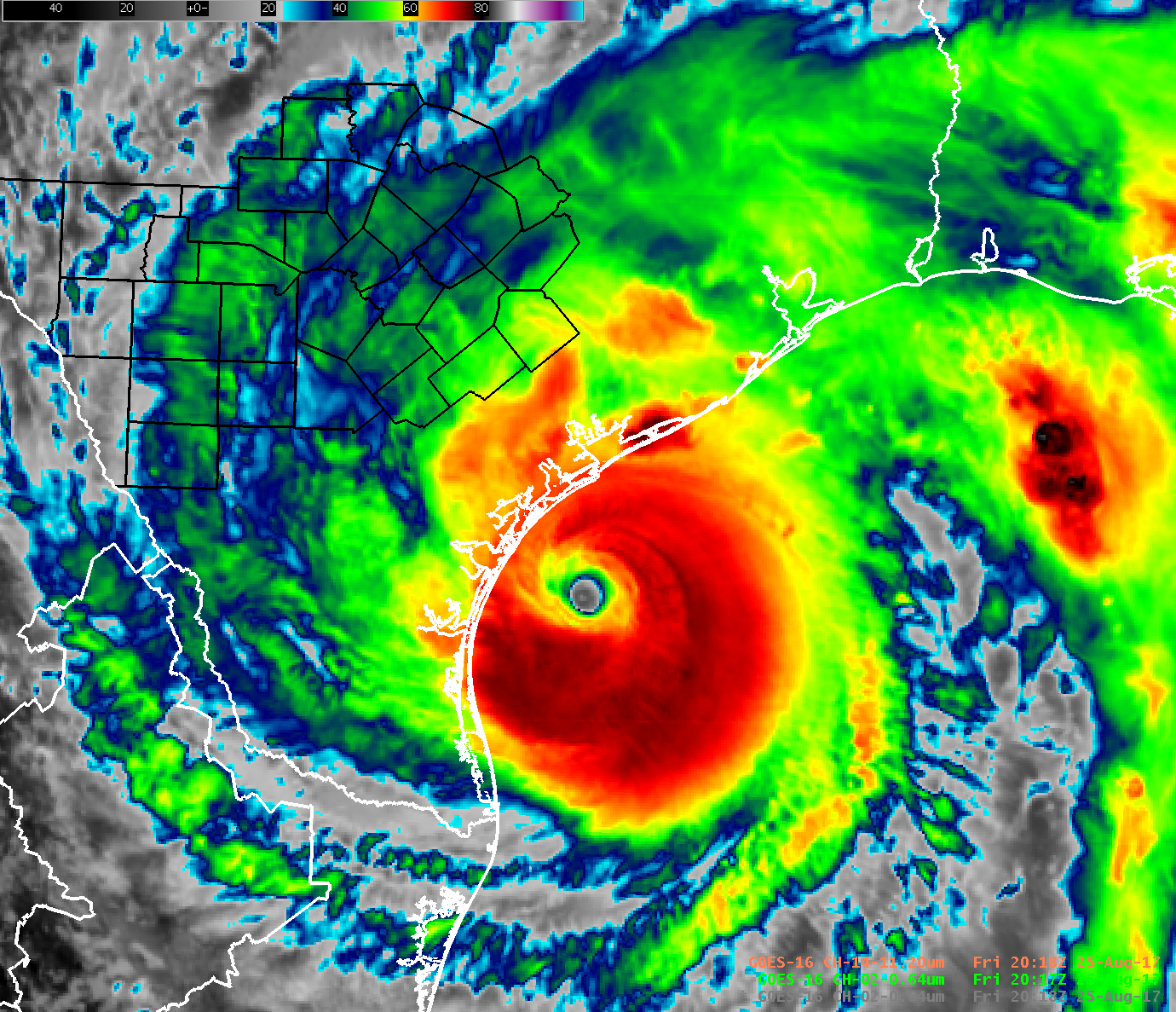 Harvey Satellite Image Near Landfall
