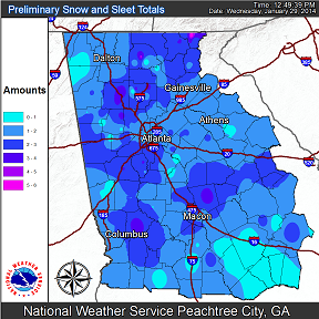 [ Total Snow Accumulation for North and Central Georgia ]