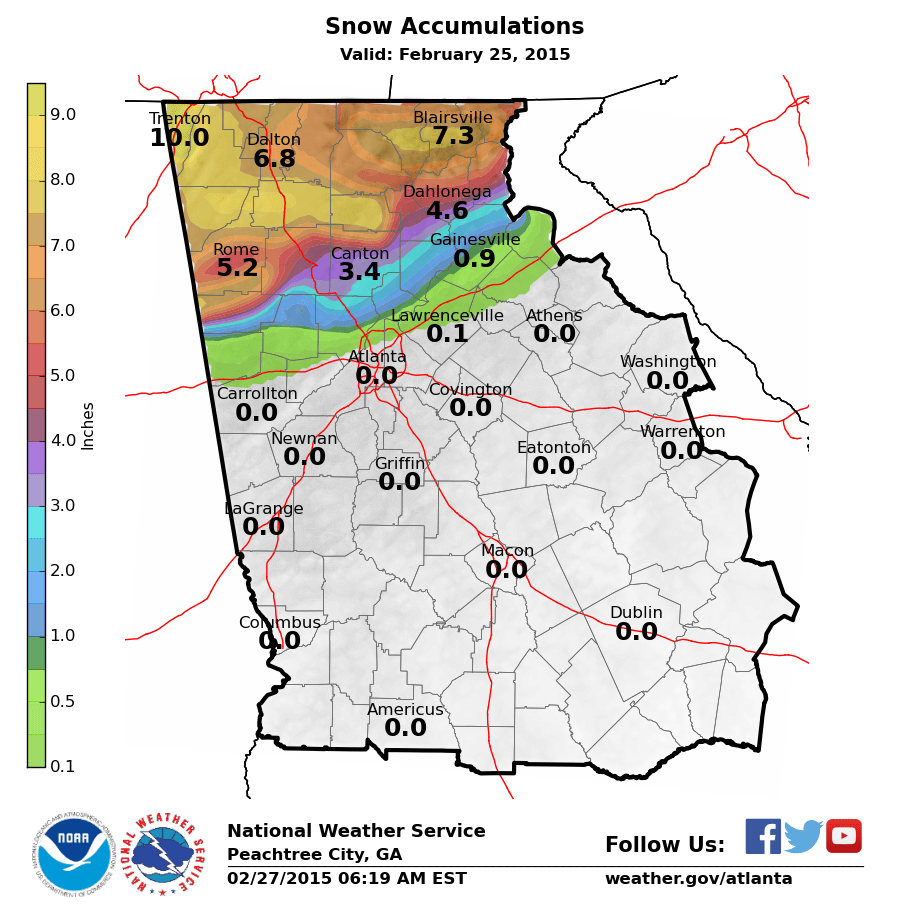 North Georgia Heavy Snow Event Feburary - Map of north ga