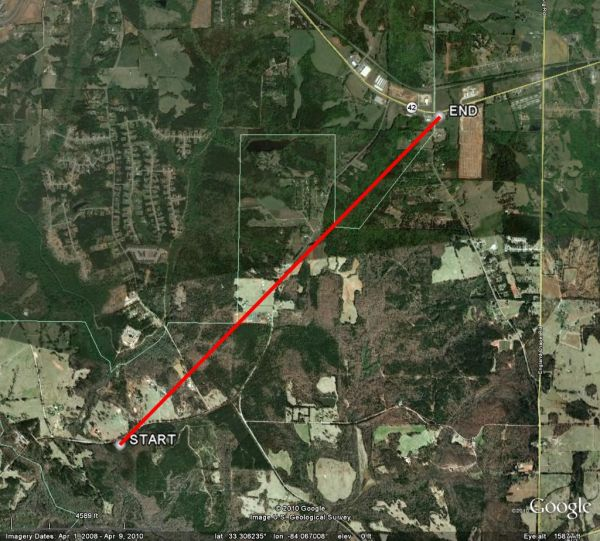 [ Map of Butts/Henry county tornado path ]