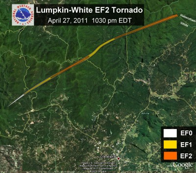 [ Path of EF-2 tornado that struck Lumpkin and White Counties. ]