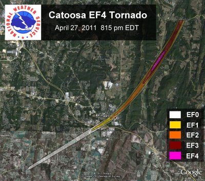 [ Path of EF-4 tornado that struck Catoosa county. ]