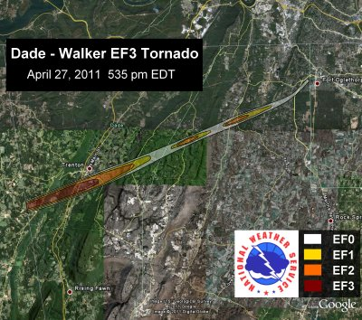 [ Path of EF-3 tornado that struck Dade and Walker Counties ]