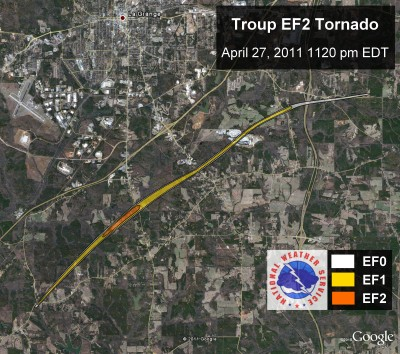 [ Path of EF-2 tornado that struck Troup county. ]