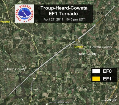 [ Path of EF-1 tornado that struck Troup, Heard, and Coweta counties ]