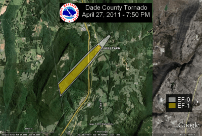 [ Path of EF-1 tornado that struck Dade county. ]