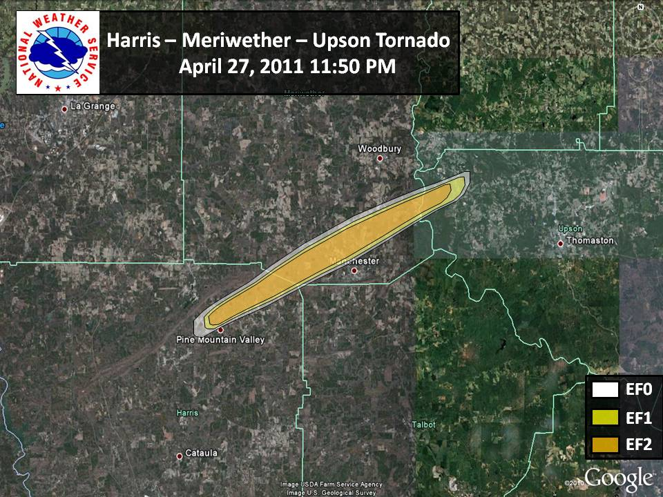 [ Path of EF-2 tornado that struck Harris, Meriweather, and Upson Counties. ]
